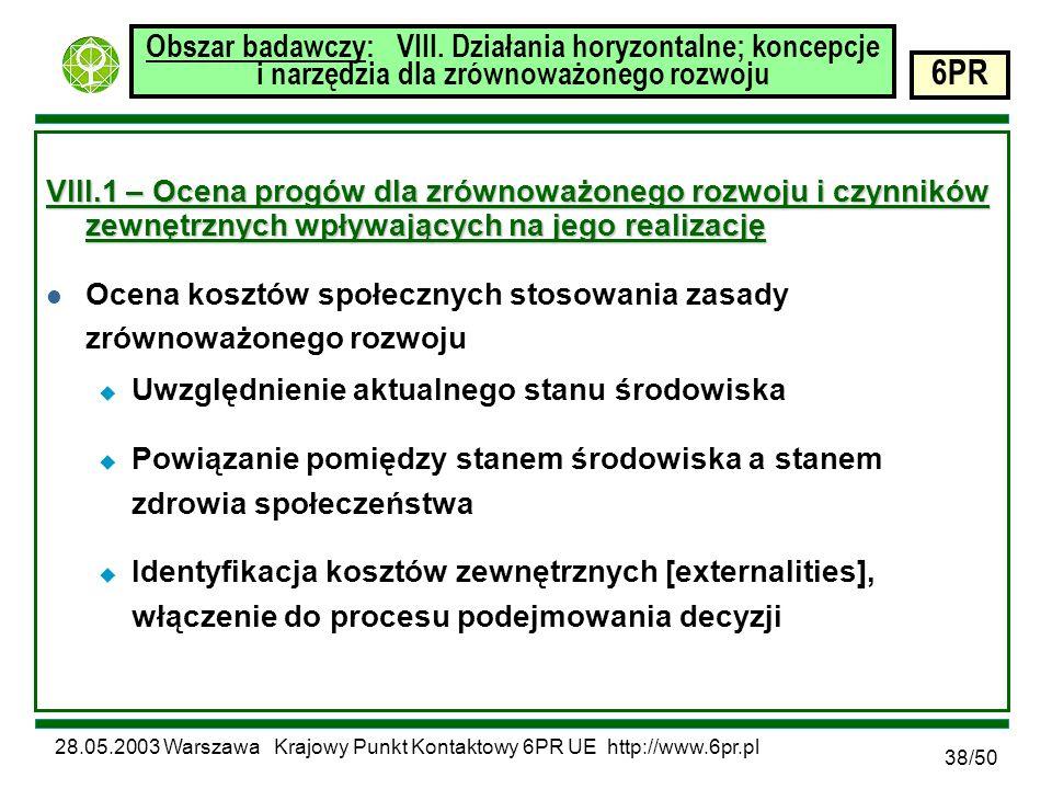 28.05.2003 Warszawa Krajowy Punkt Kontaktowy 6PR UE http://www.6pr.pl 6PR 38/50 Obszar badawczy: VIII.