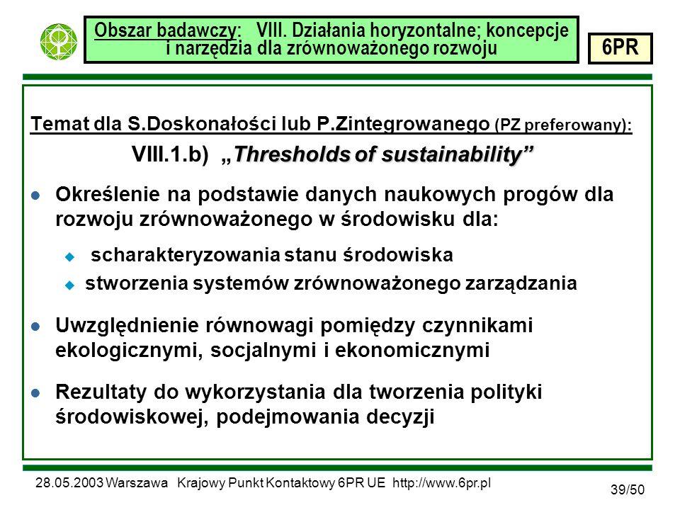 28.05.2003 Warszawa Krajowy Punkt Kontaktowy 6PR UE http://www.6pr.pl 6PR 39/50 Obszar badawczy: VIII.