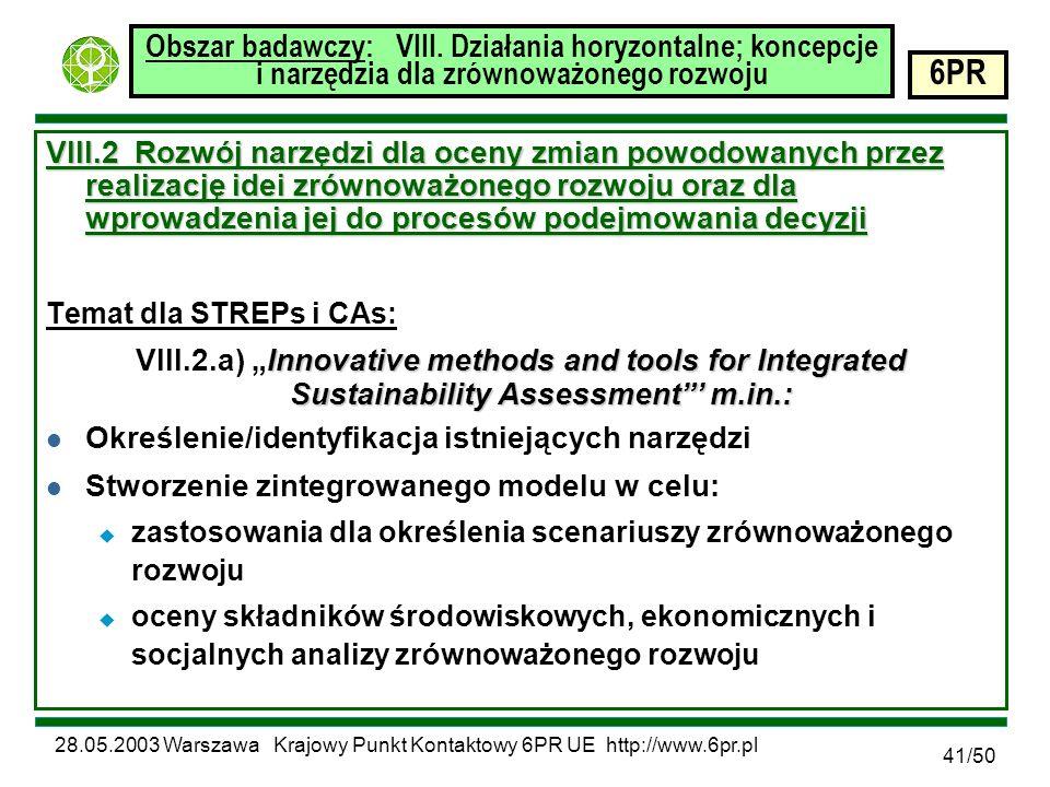 28.05.2003 Warszawa Krajowy Punkt Kontaktowy 6PR UE http://www.6pr.pl 6PR 41/50 Obszar badawczy: VIII.