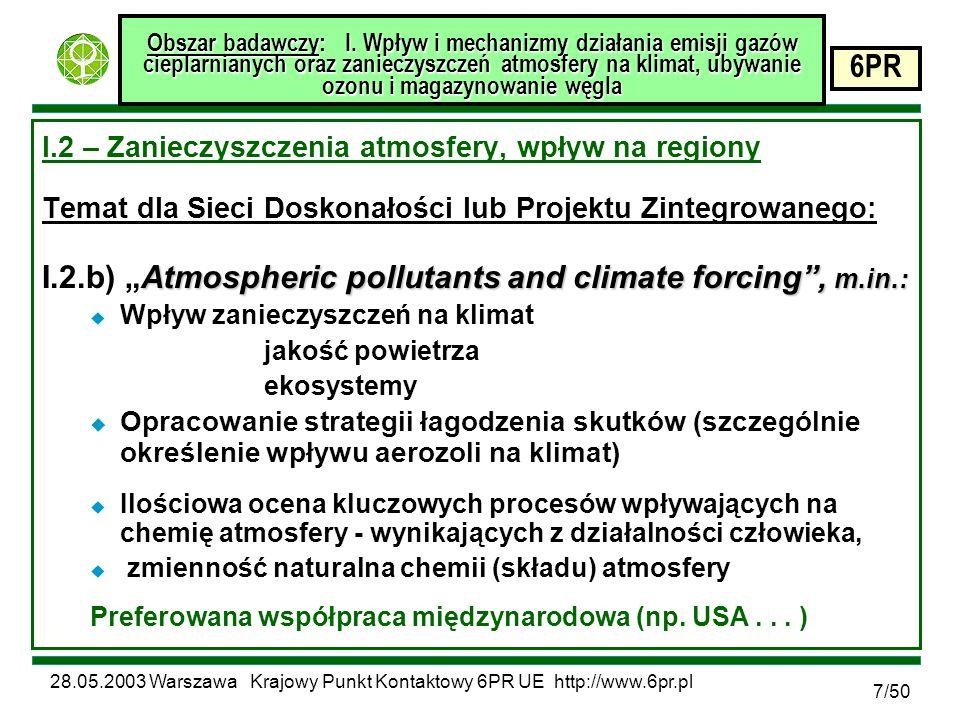 28.05.2003 Warszawa Krajowy Punkt Kontaktowy 6PR UE http://www.6pr.pl 6PR 28/50 Obszar badawczy: IV.