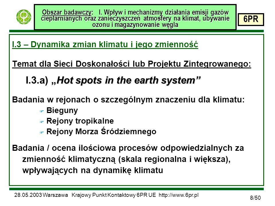 28.05.2003 Warszawa Krajowy Punkt Kontaktowy 6PR UE http://www.6pr.pl 6PR 9/50 Obszar badawczy: I.