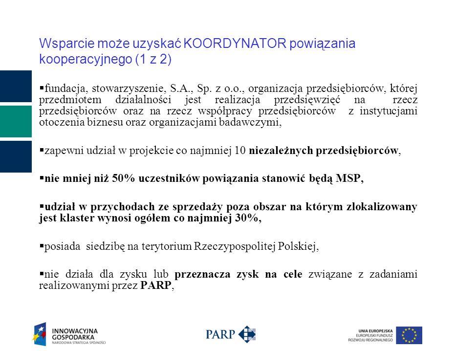 Wsparcie może uzyskać KOORDYNATOR powiązania kooperacyjnego (1 z 2) fundacja, stowarzyszenie, S.A., Sp.