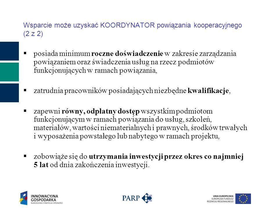 Rezultaty naboru edycja 2009: Złożono 13 wniosków na łączną kwotę – 155,5 mln zł Procent wykorzystania: 112,8 % Charakterystyka projektów: -Profil branżowy - 5 projektów z sektora budowlanego i odnawialnych źródeł energii, drzewny, lotnictwo, spożywczy, turystyka -Koordynatorzy – 7 spółek z o.o., 4 stowarzyszenia, 2 fundacje, -Ilość członków powiązania - 14-20 (w tym 11-17 przedsiębiorców), -Lokalizacja – województwo: śląskie – 5, mazowieckie - 3, opolskie, dolnośląskie, wielkopolskie, podlaskie, podkarpackie – 1.