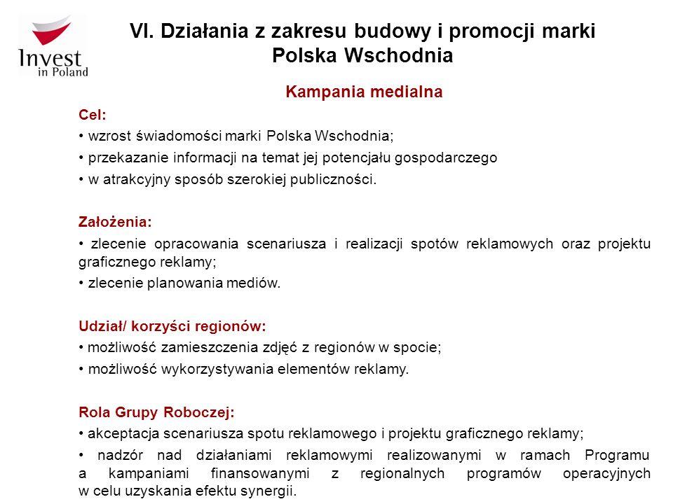 VI. Działania z zakresu budowy i promocji marki Polska Wschodnia Kampania medialna Cel: wzrost świadomości marki Polska Wschodnia; przekazanie informa