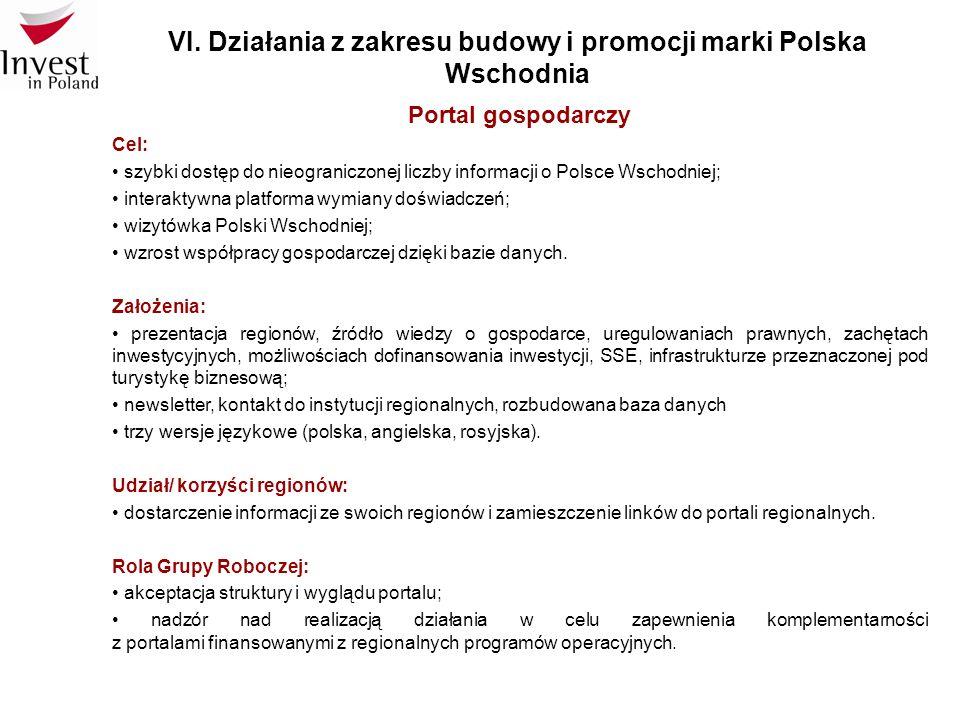 VI. Działania z zakresu budowy i promocji marki Polska Wschodnia Portal gospodarczy Cel: szybki dostęp do nieograniczonej liczby informacji o Polsce W