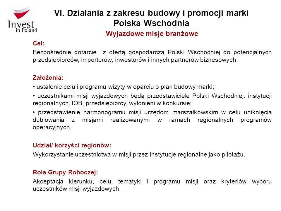 VI. Działania z zakresu budowy i promocji marki Polska Wschodnia Wyjazdowe misje branżowe Cel: Bezpośrednie dotarcie z ofertą gospodarczą Polski Wscho