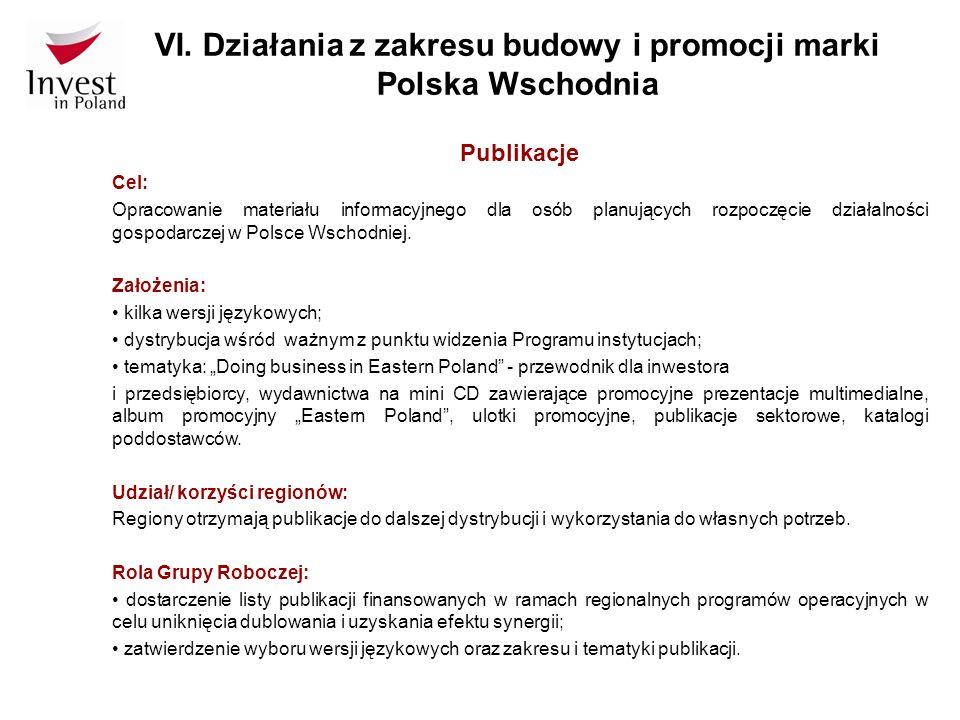 VI. Działania z zakresu budowy i promocji marki Polska Wschodnia Publikacje Cel: Opracowanie materiału informacyjnego dla osób planujących rozpoczęcie