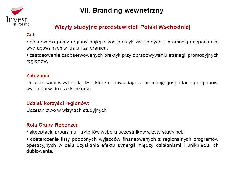 VII. Branding wewnętrzny Wizyty studyjne przedstawicieli Polski Wschodniej Cel: obserwacja przez regiony najlepszych praktyk związanych z promocją gos