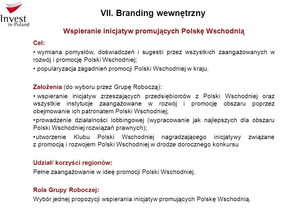VII. Branding wewnętrzny Wspieranie inicjatyw promujących Polskę Wschodnią Cel: wymiana pomysłów, doświadczeń i sugestii przez wszystkich zaangażowany