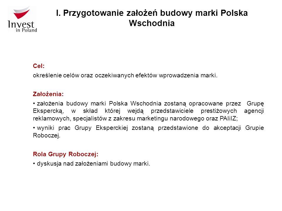 Cel: określenie celów oraz oczekiwanych efektów wprowadzenia marki. Założenia: założenia budowy marki Polska Wschodnia zostaną opracowane przez Grupę