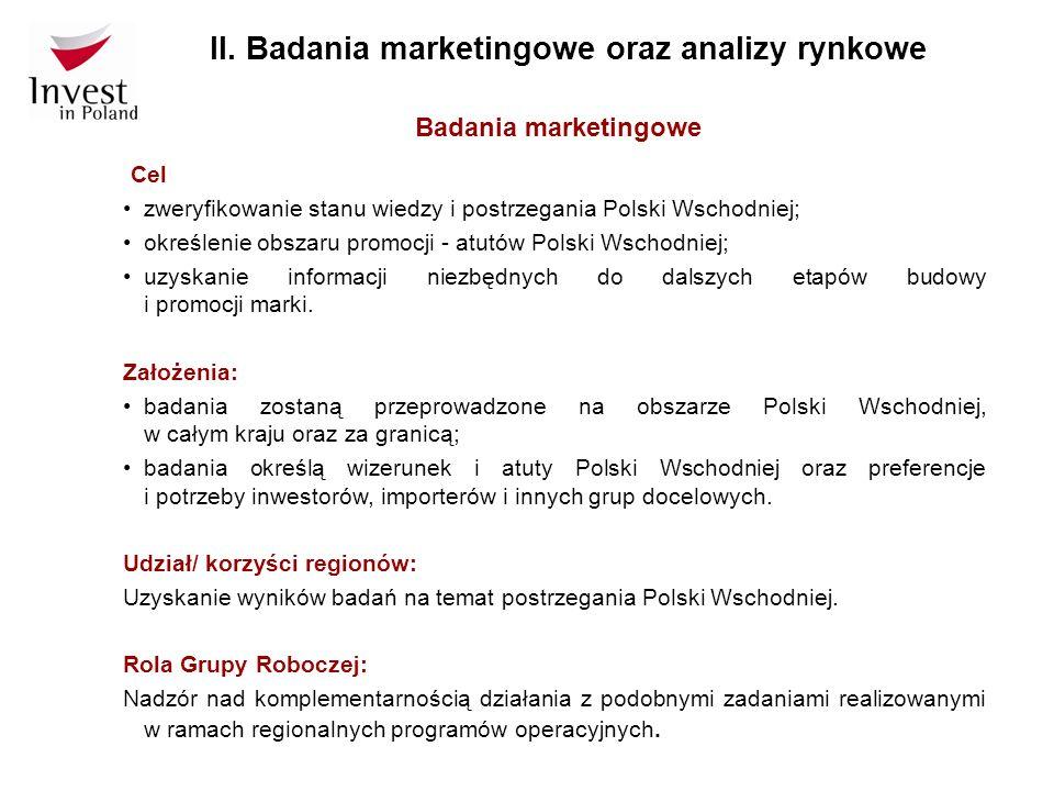 Badania marketingowe Cel zweryfikowanie stanu wiedzy i postrzegania Polski Wschodniej; określenie obszaru promocji - atutów Polski Wschodniej; uzyskan