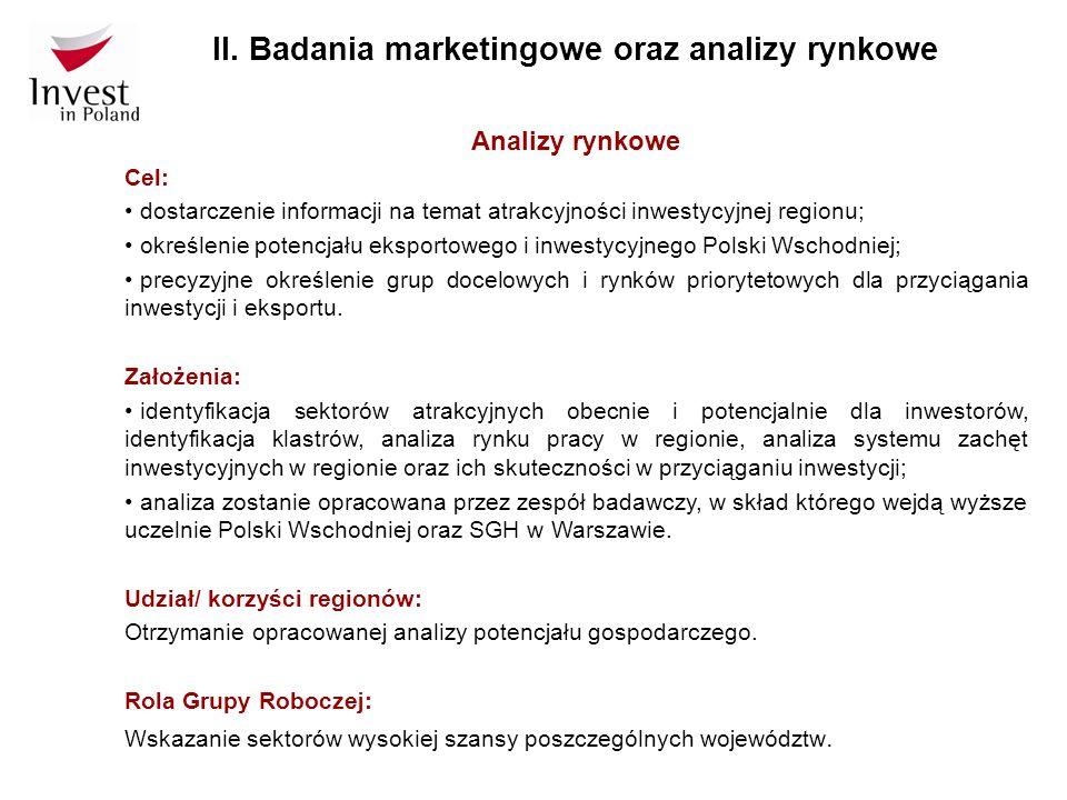 Analizy rynkowe Cel: dostarczenie informacji na temat atrakcyjności inwestycyjnej regionu; określenie potencjału eksportowego i inwestycyjnego Polski