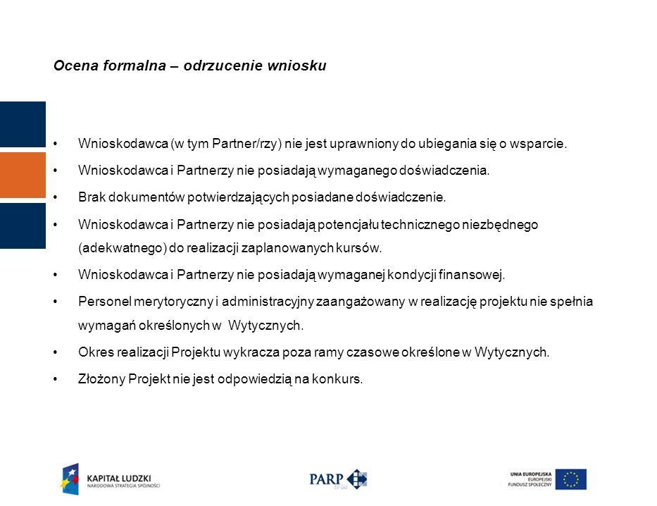 Ocena formalna – odrzucenie wniosku Wnioskodawca (w tym Partner/rzy) nie jest uprawniony do ubiegania się o wsparcie.