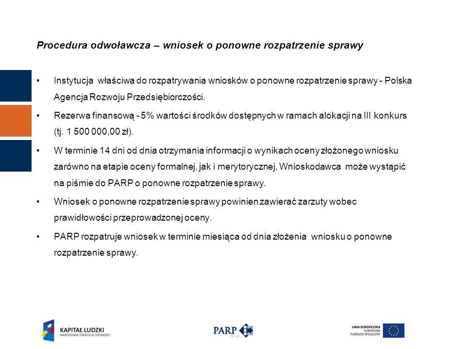 Procedura odwoławcza – wniosek o ponowne rozpatrzenie sprawy Instytucja właściwa do rozpatrywania wniosków o ponowne rozpatrzenie sprawy - Polska Agencja Rozwoju Przedsiębiorczości.
