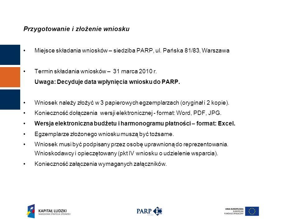 Przygotowanie i złożenie wniosku Miejsce składania wniosków – siedziba PARP, ul.