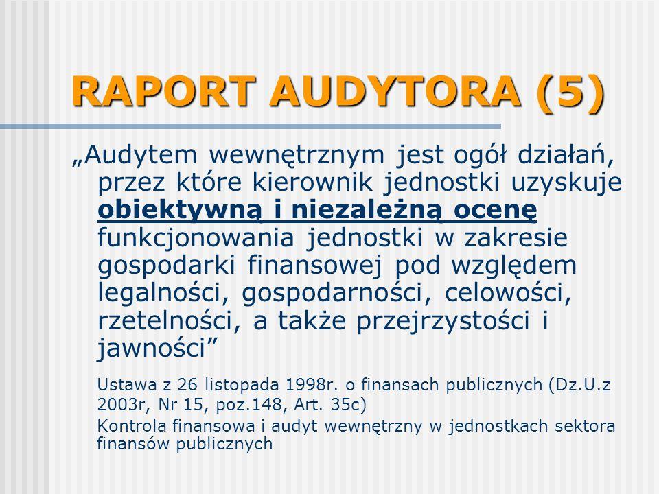 RAPORT AUDYTORA (5) Audytem wewnętrznym jest ogół działań, przez które kierownik jednostki uzyskuje obiektywną i niezależną ocenę funkcjonowania jednostki w zakresie gospodarki finansowej pod względem legalności, gospodarności, celowości, rzetelności, a także przejrzystości i jawności Ustawa z 26 listopada 1998r.