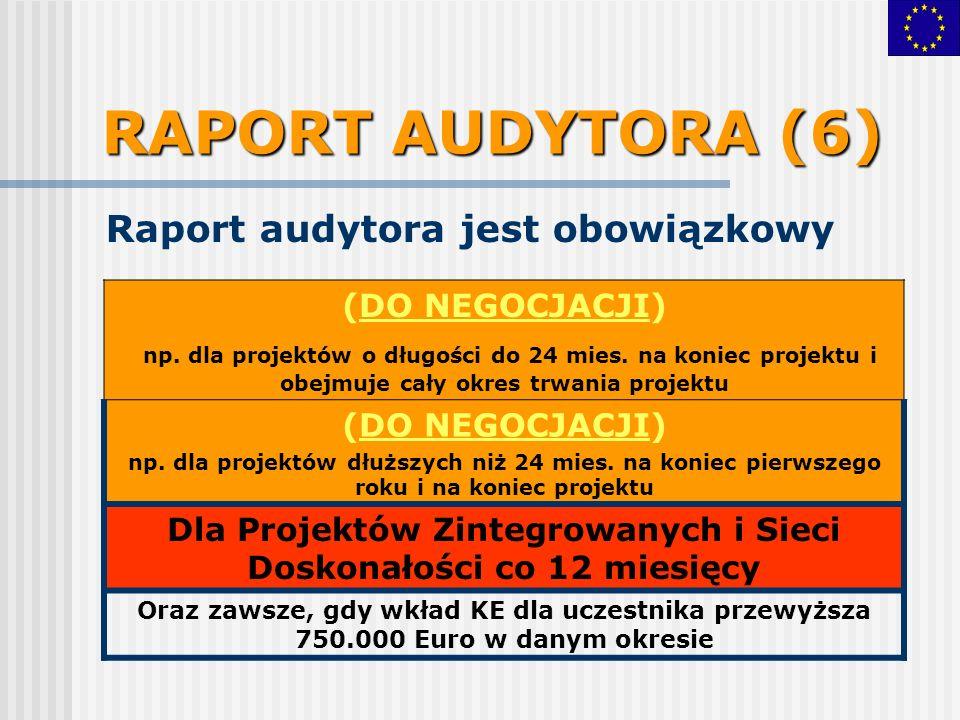 RAPORT AUDYTORA (6) Raport audytora jest obowiązkowy (DO NEGOCJACJI) np.