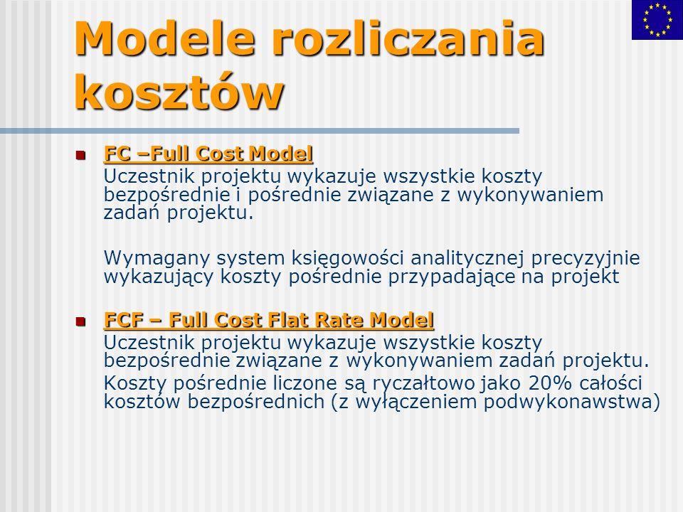 Modele rozliczania kosztów FC –Full Cost Model FC –Full Cost Model Uczestnik projektu wykazuje wszystkie koszty bezpośrednie i pośrednie związane z wykonywaniem zadań projektu.