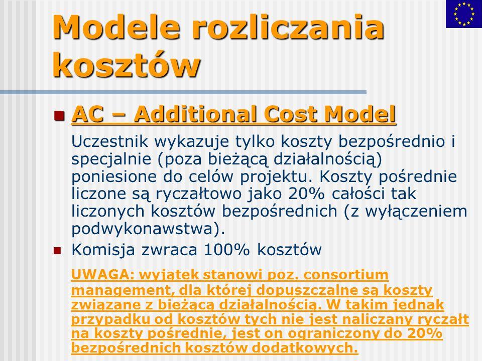Modele rozliczania kosztów AC – Additional Cost Model AC – Additional Cost Model Uczestnik wykazuje tylko koszty bezpośrednio i specjalnie (poza bieżącą działalnością) poniesione do celów projektu.