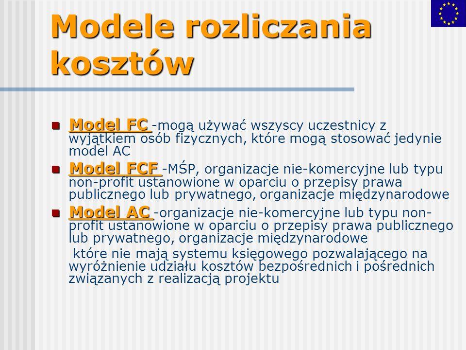 Modele rozliczania kosztów Model FC Model FC -mogą używać wszyscy uczestnicy z wyjątkiem osób fizycznych, które mogą stosować jedynie model AC Model FCF Model FCF -MŚP, organizacje nie-komercyjne lub typu non-profit ustanowione w oparciu o przepisy prawa publicznego lub prywatnego, organizacje międzynarodowe Model AC Model AC -organizacje nie-komercyjne lub typu non- profit ustanowione w oparciu o przepisy prawa publicznego lub prywatnego, organizacje międzynarodowe które nie mają systemu księgowego pozwalającego na wyróżnienie udziału kosztów bezpośrednich i pośrednich związanych z realizacją projektu