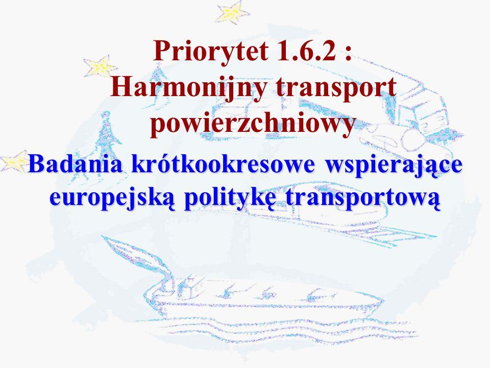 Badania krótkookresowe wspierające europejską politykę transportową Priorytet 1.6.2 : Harmonijny transport powierzchniowy