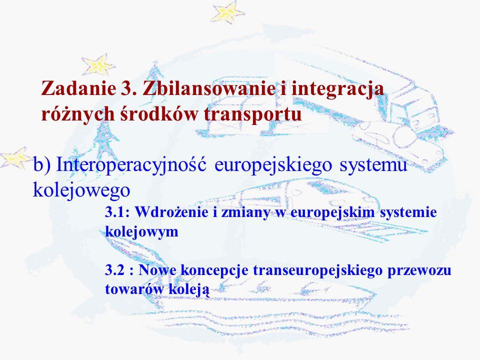 Zadanie 3. Zbilansowanie i integracja różnych środków transportu b) Interoperacyjność europejskiego systemu kolejowego 3.1: Wdrożenie i zmiany w europ