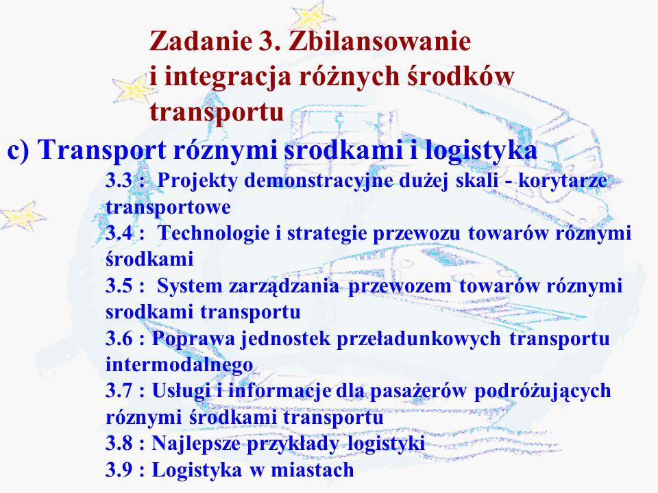 Zadanie 3. Zbilansowanie i integracja różnych środków transportu c) Transport róznymi srodkami i logistyka 3.3 : Projekty demonstracyjne dużej skali -