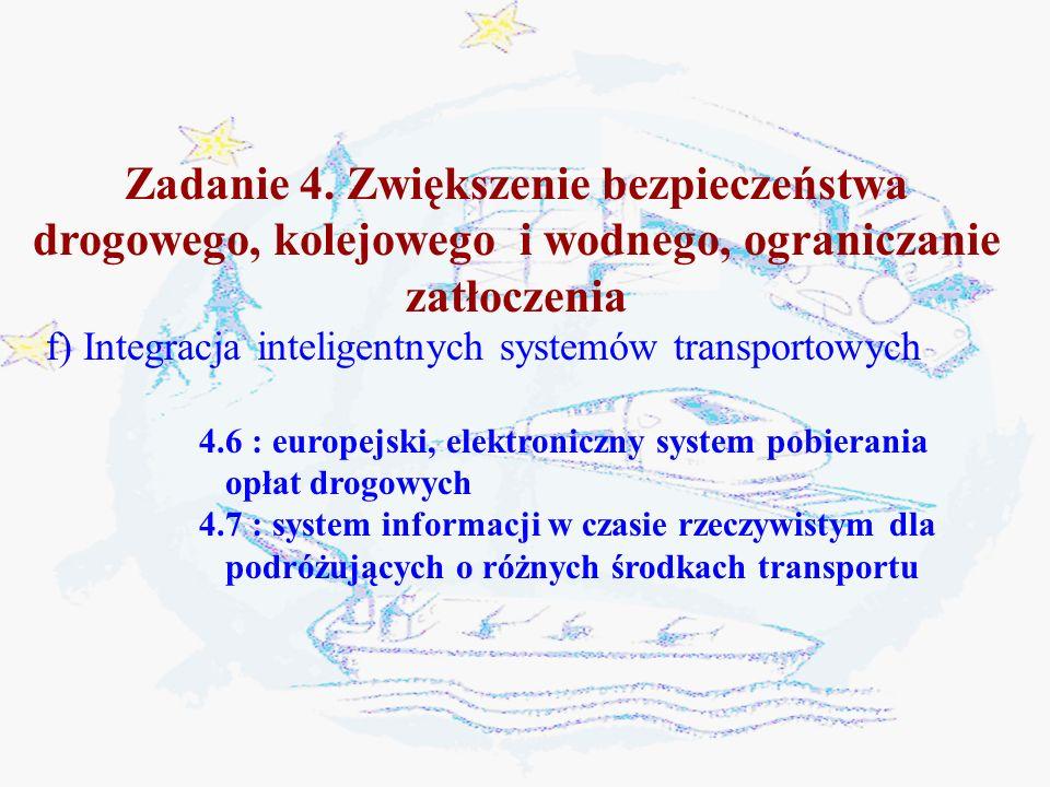 Zadanie 4. Zwiększenie bezpieczeństwa drogowego, kolejowego i wodnego, ograniczanie zatłoczenia f) Integracja inteligentnych systemów transportowych 4