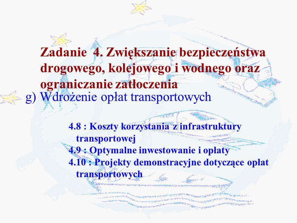 Zadanie 4. Zwiększanie bezpieczeństwa drogowego, kolejowego i wodnego oraz ograniczanie zatłoczenia g) Wdrożenie opłat transportowych 4.8 : Koszty kor