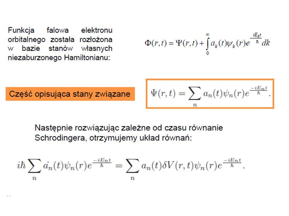 Prawdopodobieństwo jonizacja w wyniku rozpadu β Prawdopodobieństwo znalezienia elektronu w stanie związanym: Prawdopodobieństwo jonizacji: Prawdopodobieństwo jonizacji z poprawką δPionization 0.02322 Prawdopodobieństwo jonizacji z odrzutem jądra (Erecoil=0.94689[keV]) 0.02342 Prawdopodobieństwo jonizacji (bez odrzutu jądra) 0.02338 Eksperyment 0.02348(35)stat(06)syst