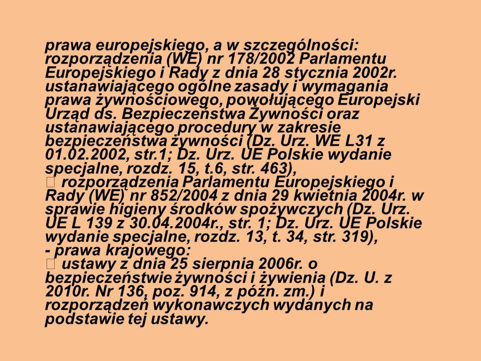 prawa europejskiego, a w szczególności: rozporządzenia (WE) nr 178/2002 Parlamentu Europejskiego i Rady z dnia 28 stycznia 2002r. ustanawiającego ogól