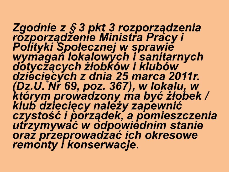 Zgodnie z § 3 pkt 3 rozporządzenia rozporządzenie Ministra Pracy i Polityki Społecznej w sprawie wymagań lokalowych i sanitarnych dotyczących żłobków