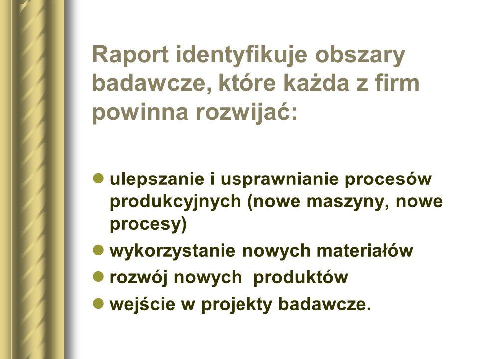 Raport identyfikuje obszary badawcze, które każda z firm powinna rozwijać: ulepszanie i usprawnianie procesów produkcyjnych (nowe maszyny, nowe proces