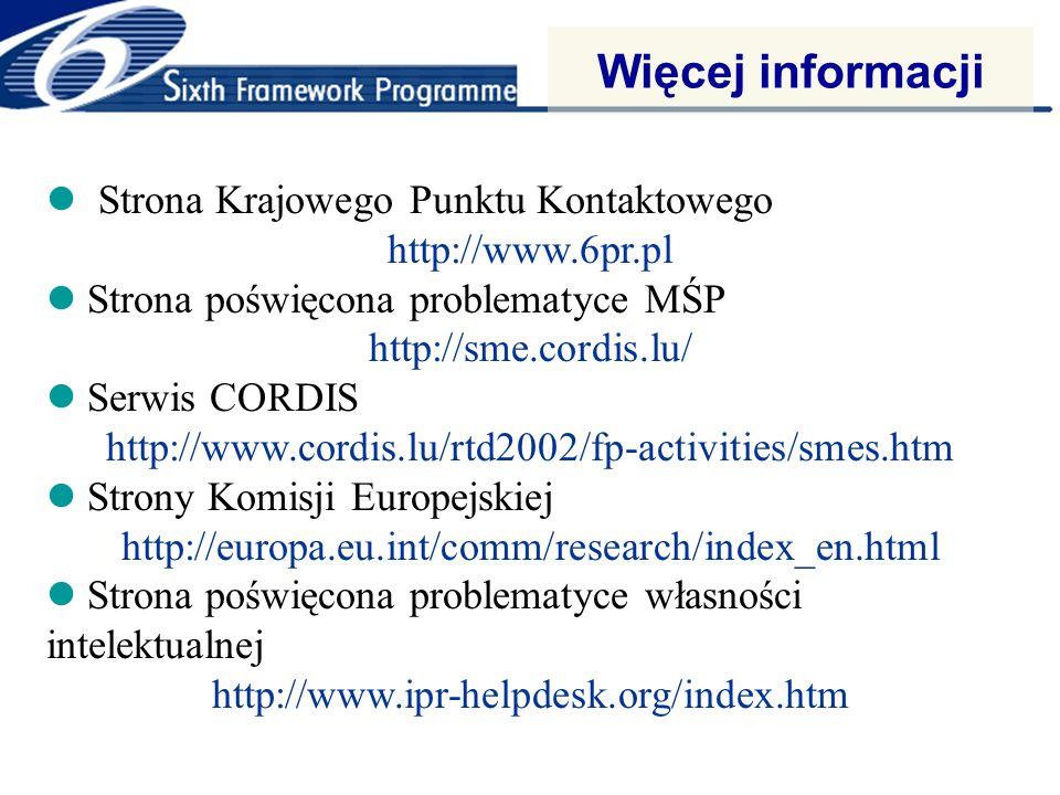 Więcej informacji Strona Krajowego Punktu Kontaktowego http://www.6pr.pl Strona poświęcona problematyce MŚP http://sme.cordis.lu/ Serwis CORDIS http://www.cordis.lu/rtd2002/fp-activities/smes.htm Strony Komisji Europejskiej http://europa.eu.int/comm/research/index_en.html Strona poświęcona problematyce własności intelektualnej http://www.ipr-helpdesk.org/index.htm