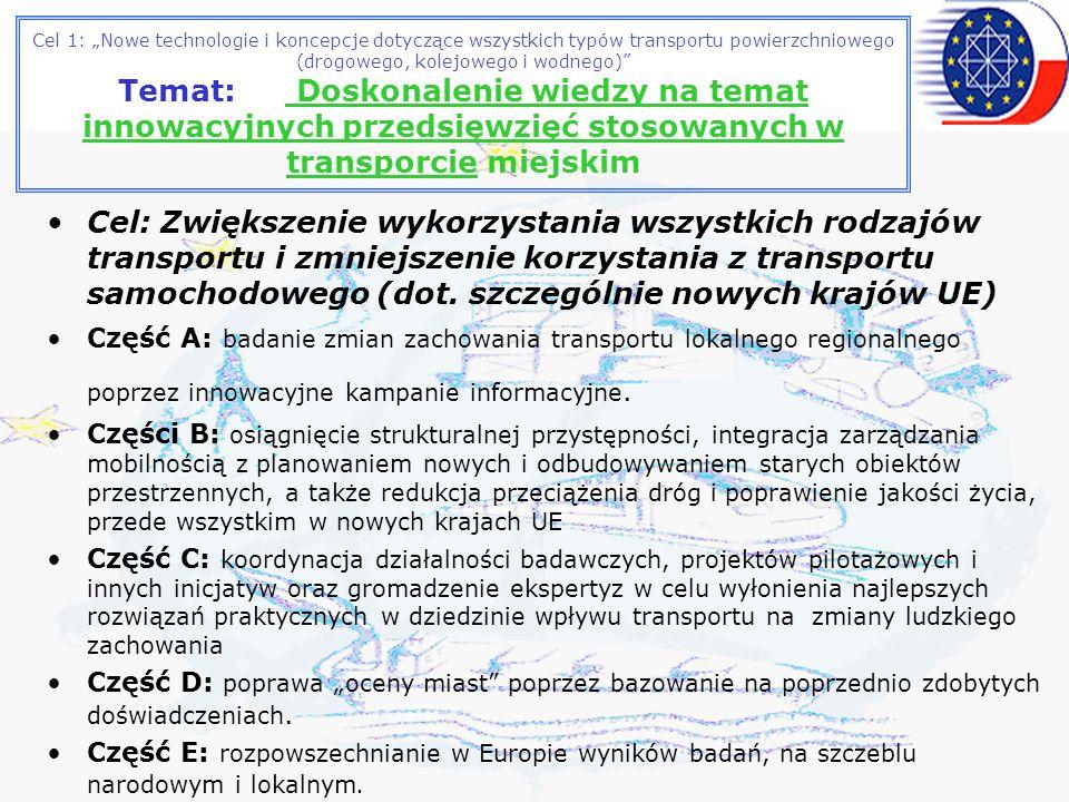 Cel 1: Nowe technologie i koncepcje dotyczące wszystkich typów transportu powierzchniowego (drogowego, kolejowego i wodnego) Temat: Doskonalenie wiedzy na temat innowacyjnych przedsięwzięć stosowanych w transporcie miejskim Cel: Zwiększenie wykorzystania wszystkich rodzajów transportu i zmniejszenie korzystania z transportu samochodowego (dot.