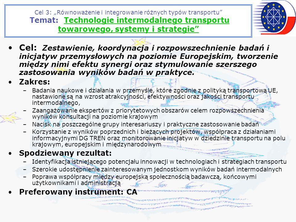 Cel 3: Równoważenie i integrowanie różnych typów transportu Temat: Technologie intermodalnego transportu towarowego, systemy i strategie Cel: Zestawienie, koordynacja i rozpowszechnienie badań i inicjatyw przemysłowych na poziomie Europejskim, tworzenie między nimi efektu synergi oraz stymulowanie szerszego zastosowania wyników badań w praktyce.