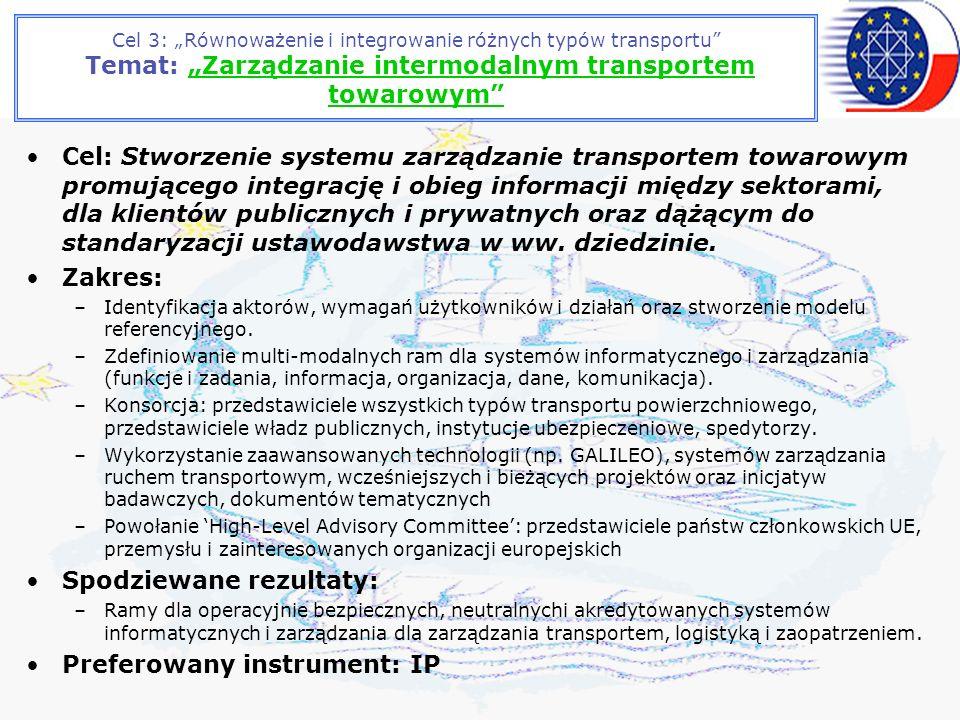Cel 3: Równoważenie i integrowanie różnych typów transportu Temat: Zarządzanie intermodalnym transportem towarowym Cel: Stworzenie systemu zarządzanie transportem towarowym promującego integrację i obieg informacji między sektorami, dla klientów publicznych i prywatnych oraz dążącym do standaryzacji ustawodawstwa w ww.