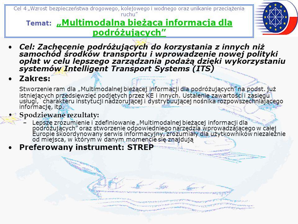 Cel 4 Wzrost bezpieczeństwa drogowego, kolejowego i wodnego oraz unikanie przeciążenia ruchu Temat: Multimodalna bieżąca informacja dla podróżujących Cel: Zachęcenie podróżujących do korzystania z innych niż samochód środków transportu i wprowadzenie nowej polityki opłat w celu lepszego zarządzania podażą dzięki wykorzystaniu systemów Intelligent Transport Systems (ITS) Zakres: Stworzenie ram dla Multimodalnej bieżącej informacji dla podróżujących na podst.
