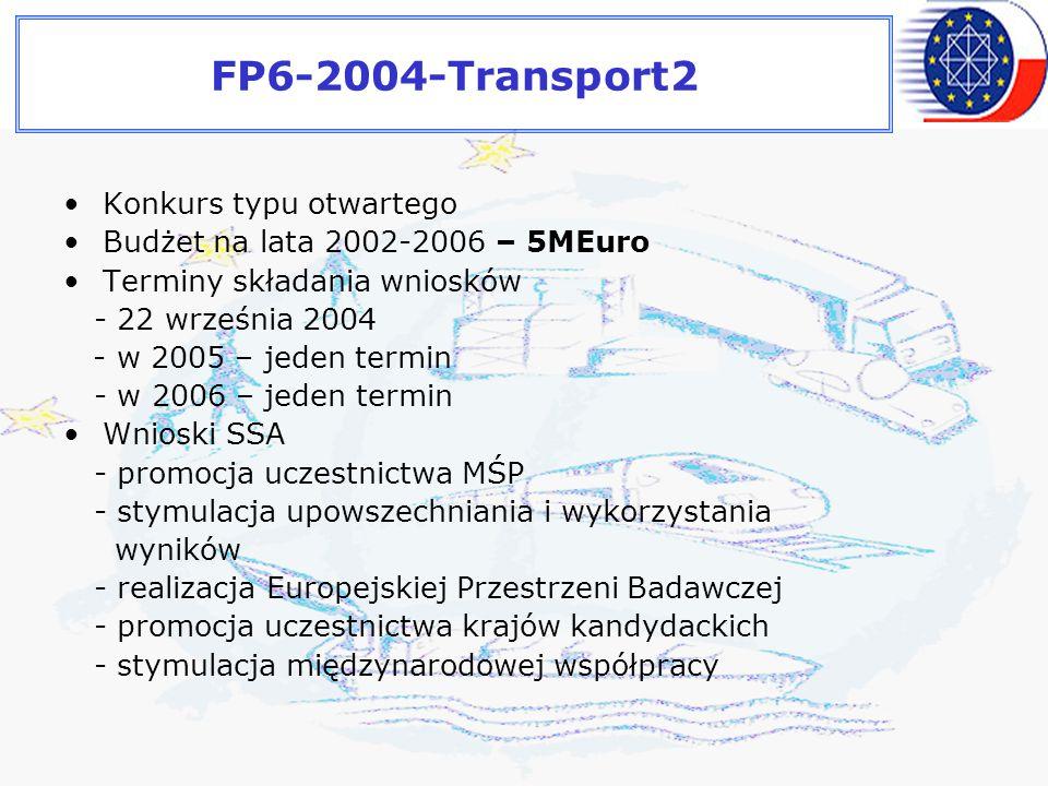 FP6-2004-Transport2 Konkurs typu otwartego Budżet na lata 2002-2006 – 5MEuro Terminy składania wniosków - 22 września 2004 - w 2005 – jeden termin - w 2006 – jeden termin Wnioski SSA - promocja uczestnictwa MŚP - stymulacja upowszechniania i wykorzystania wyników - realizacja Europejskiej Przestrzeni Badawczej - promocja uczestnictwa krajów kandydackich - stymulacja międzynarodowej współpracy