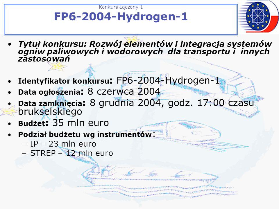 Konkurs Łączony 1 FP6-2004-Hydrogen-1 Tytuł konkursu: Rozwój elementów i integracja systemów ogniw paliwowych i wodorowych dla transportu i innych zastosowań Identyfikator konkursu : FP6-2004-Hydrogen-1 Data ogłoszenia : 8 czerwca 2004 Data zamknięcia : 8 grudnia 2004, godz.
