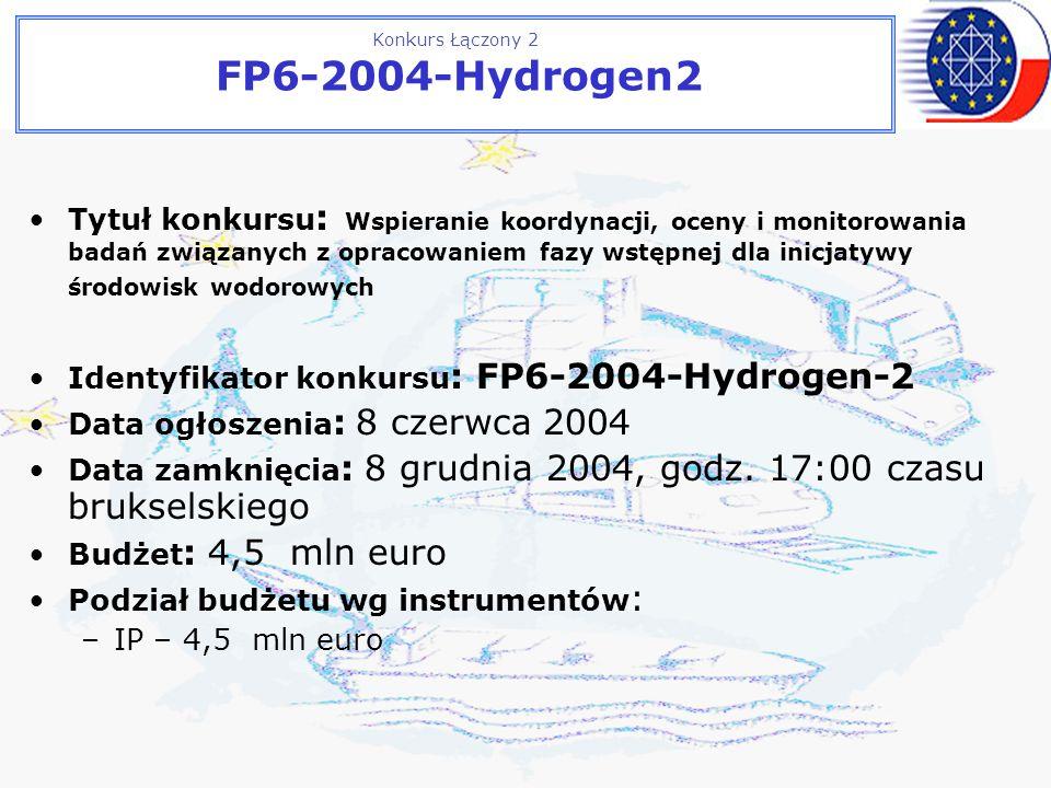Konkurs Łączony 2 FP6-2004-Hydrogen2 Tytuł konkursu : Wspieranie koordynacji, oceny i monitorowania badań związanych z opracowaniem fazy wstępnej dla inicjatywy środowisk wodorowych Identyfikator konkursu : FP6-2004-Hydrogen-2 Data ogłoszenia : 8 czerwca 2004 Data zamknięcia : 8 grudnia 2004, godz.