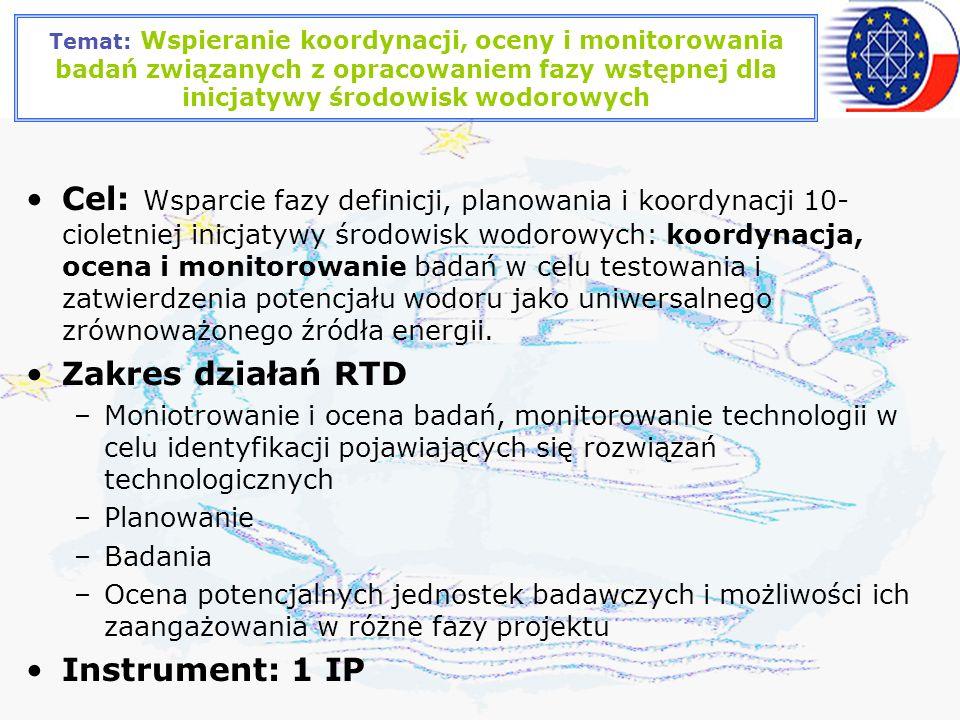 Temat: Wspieranie koordynacji, oceny i monitorowania badań związanych z opracowaniem fazy wstępnej dla inicjatywy środowisk wodorowych Cel: Wsparcie fazy definicji, planowania i koordynacji 10- cioletniej inicjatywy środowisk wodorowych: koordynacja, ocena i monitorowanie badań w celu testowania i zatwierdzenia potencjału wodoru jako uniwersalnego zrównoważonego źródła energii.