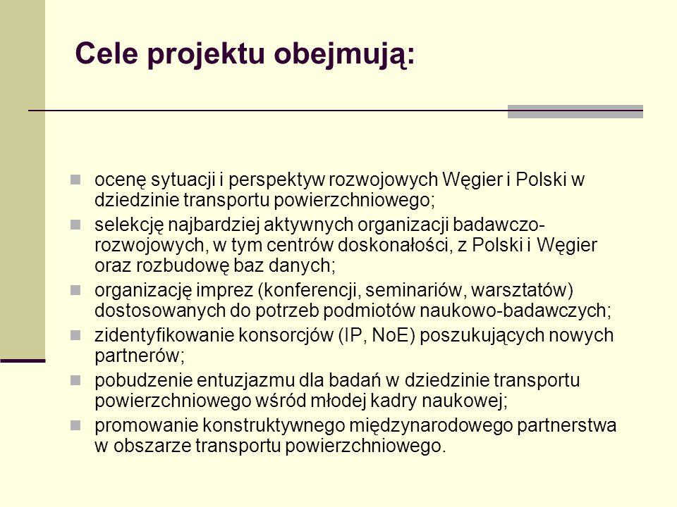 Cele projektu obejmują: ocenę sytuacji i perspektyw rozwojowych Węgier i Polski w dziedzinie transportu powierzchniowego; selekcję najbardziej aktywnych organizacji badawczo- rozwojowych, w tym centrów doskonałości, z Polski i Węgier oraz rozbudowę baz danych; organizację imprez (konferencji, seminariów, warsztatów) dostosowanych do potrzeb podmiotów naukowo-badawczych; zidentyfikowanie konsorcjów (IP, NoE) poszukujących nowych partnerów; pobudzenie entuzjazmu dla badań w dziedzinie transportu powierzchniowego wśród młodej kadry naukowej; promowanie konstruktywnego międzynarodowego partnerstwa w obszarze transportu powierzchniowego.