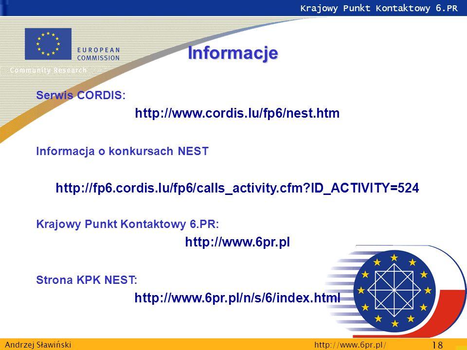 Krajowy Punkt Kontaktowy 6.PR http://www.6pr.pl/ 18 Andrzej Sławiński Informacje Serwis CORDIS: http://www.cordis.lu/fp6/nest.htm Informacja o konkursach NEST http://fp6.cordis.lu/fp6/calls_activity.cfm ID_ACTIVITY=524 Krajowy Punkt Kontaktowy 6.PR: http://www.6pr.pl Strona KPK NEST: http://www.6pr.pl/n/s/6/index.html