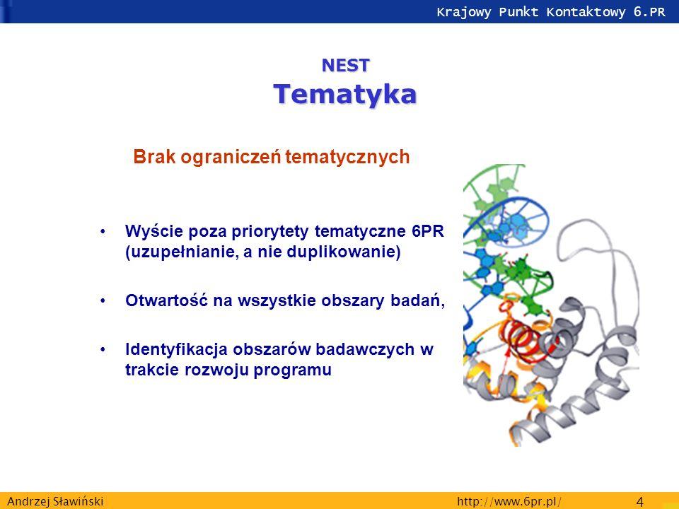 Krajowy Punkt Kontaktowy 6.PR http://www.6pr.pl/ 4 Andrzej Sławiński Brak ograniczeń tematycznych Wyście poza priorytety tematyczne 6PR (uzupełnianie, a nie duplikowanie) Otwartość na wszystkie obszary badań, Identyfikacja obszarów badawczych w trakcie rozwoju programu NESTTematyka