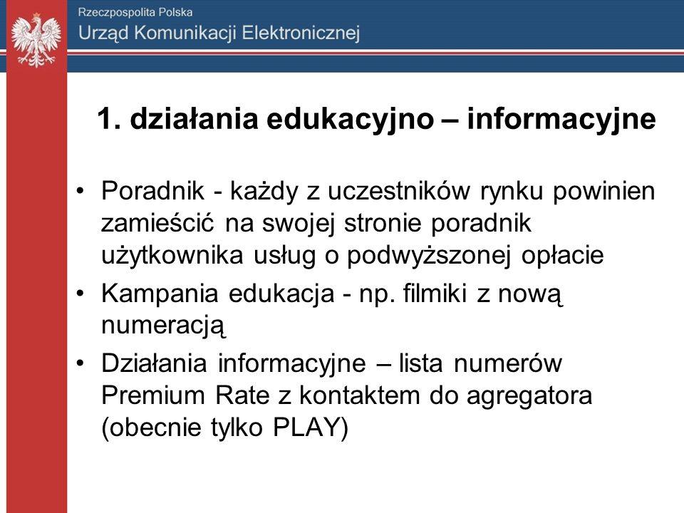 1. działania edukacyjno – informacyjne Poradnik - każdy z uczestników rynku powinien zamieścić na swojej stronie poradnik użytkownika usług o podwyższ