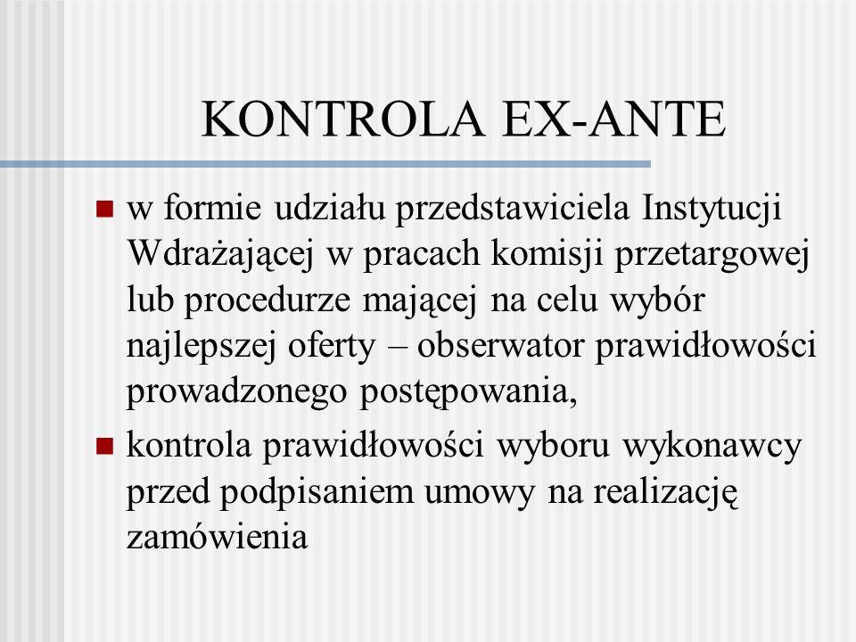 KONTROLA EX-POST w przypadku gdy wszczęcie postępowania nastąpiło przed zawarciem umowy o dofinansowanie
