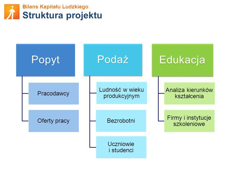 Bilans Kapitału Ludzkiego Struktura projektu Popyt Pracodawcy Oferty pracy Podaż Ludność w wieku produkcyjnym Bezrobotni Uczniowie i studenci Edukacja