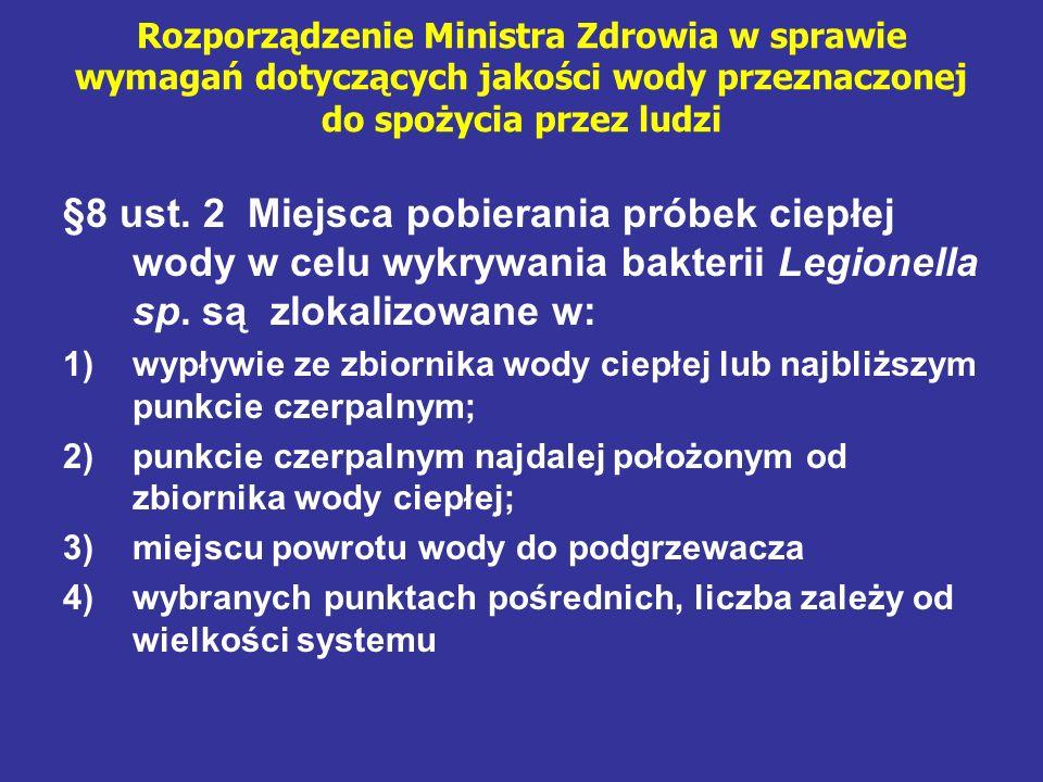 Rozporządzenie Ministra Zdrowia w sprawie wymagań dotyczących jakości wody przeznaczonej do spożycia przez ludzi §8 ust. 2 Miejsca pobierania próbek c