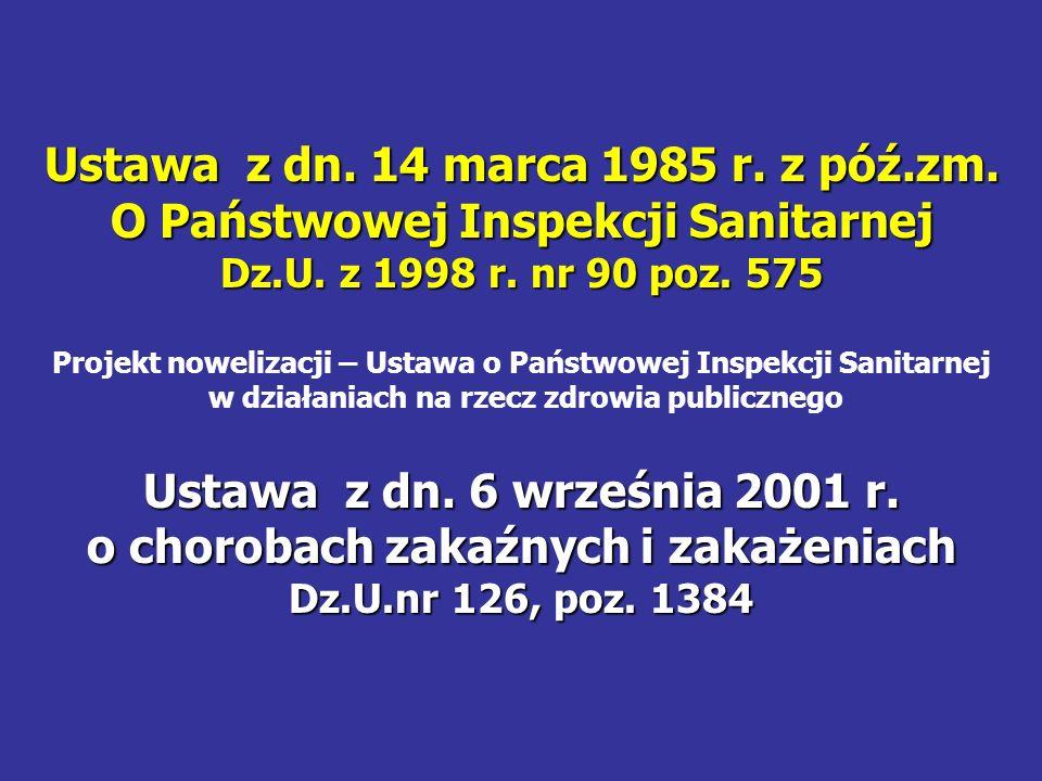 Ustawa z dn. 14 marca 1985 r. z póź.zm. O Państwowej Inspekcji Sanitarnej Dz.U. z 1998 r. nr 90 poz. 575 Projekt nowelizacji – Ustawa o Państwowej Ins